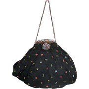 Vintage Black Satin Embroidered Evening Bag with Beaded Clasp