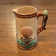 Hand-Decorated Majolica Pitcher with Fish Handle