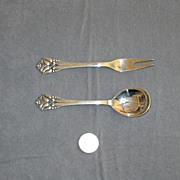 Denmark Sterling Decorative Spoon and Fork Set