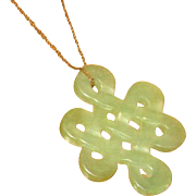 Carved Pale Green Jade Pendant with 14K Chain