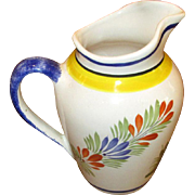 Hand-Painted Figural Quimper Pottery Pitcher