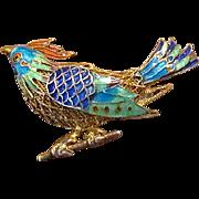 Vermeil Silver Filigree & Enamel Bird Pin