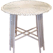 Vintage Round White Reed Wicker Table