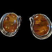 Sterling Silver Amber Clip Earrings