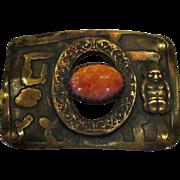 Arts & Crafts Brass Sash Pin with Billikin