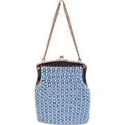 Vintage Italian Mesh purse with Blue Plastic Beads