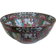Chinese Rose Medallion Footed Porcelain Bowl