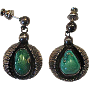 Native American Silver & Turquoise Drop Earrings