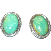 Native American Navaho Sterling Silver & Turquoise Earrings