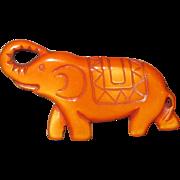 Vintage Carved Caramel Bakelite Figural Elephant Pin