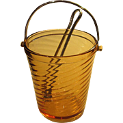 Vintage Amber Crystal Ice Bucket with Tongs