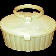 Small Vintage White Moire Plastic Box Purse