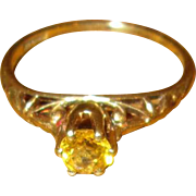 Vintage 14K Gold Ring with European-Cut Citrine
