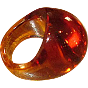 Amber-Colored Lalique Crystal Ring in Original Box