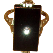 14K White Gold Ring with Diamond & Black Onyx Stone