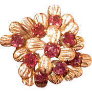 14K Gold Cocktail Ring with Pink Rubies
