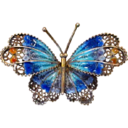 800 Silver Filigree Butterfly Pin with Enamel Decoration