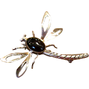 Mexican Sterling & Onyx Dragonfly Pin