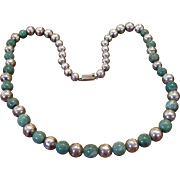 "28"" Mexican Sterling And Green Onyx Bead Necklace"
