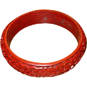 Vintage Carved Red Cinnabar Bangle Bracelet