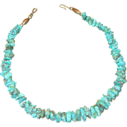 Native American Silver & Turquoise Nugget Necklace