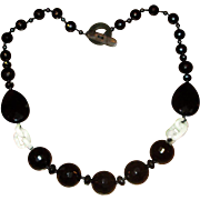 Faceted Black Onyx and Carved Jade Necklace