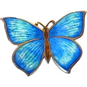 Sterling Silver and Blue Guilloche Enamel Butterfly Pin