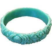 Vintage Green Molded Celluloid Bangle Bracelet