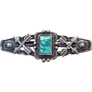 Silver & Turquoise Native American Pin with Turquoise Stone