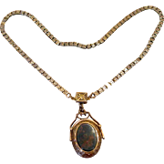 Rose-Gold Filled Victorian Bloodstone Fob Locket Necklace