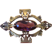 Edwardian Brass Sash Pin with Purple Czech Glass Stone