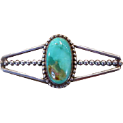 Modernist Native American Silver Brooch with Turquoise Stone