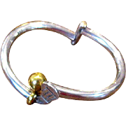 Mexican Sterling Gold-Club Bangle Bracelet