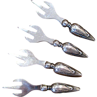 Set of Four Sterling Silver Ear-of-Corn Holders