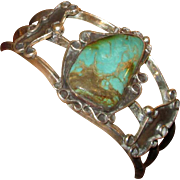 Native American Navaho Silver & Turquoise Cuff Bracelet