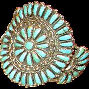 Native American Zuni Needlepoint Turquoise Cuff Bracelet