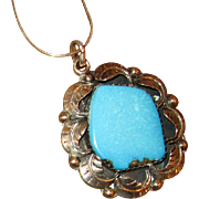 Native American Sterling Silver & Turquoise Pendant with Chain