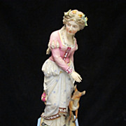 PAIR Mid to Late 19th Century Chantilly Highly Developed Bisque Figures - Maiden and Hunter