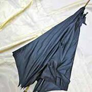 French Painted Porcelain Handled Silk Parasol Umbrella ca 1890-1900