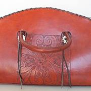 Vintage Western Hand Tooled Duffle Bag