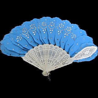 Vintage Exquisite Celluloid & Silk Hand Fan