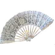 Antique FAUCON Mother of Pearl Carved Stiks w Gilt Hand Made Lace Hand Fan