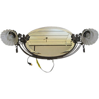 Vintage Antique Gold Oval Wall Mirror Two Lights Beveled Glass
