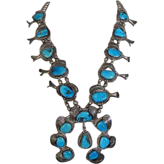 Vintage Navajo Turquoise Squash Blossom Necklace Huge