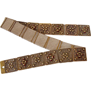Vintage Chanel Articulated Filagree Belt in Gold Tone Metal with Red Beads