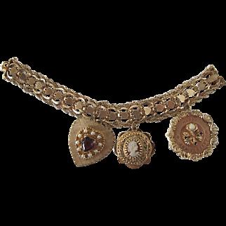 Vintage 1960's 14k Gold Charm Bracelet Heart Bracelet with 3 Large Bejeweled  Charms