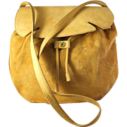 Vintage Hermes Suede Leather Shoulder Saddle Bag