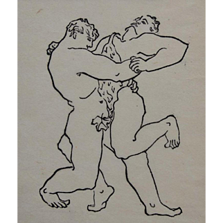 Male Wrestling  Limited Edition 2/99 by Jiri Jaska. Czech 1930s