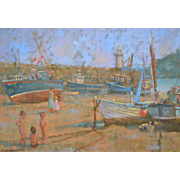 Children Playing, St Ives Harbour by Sheila Tiffin. English