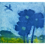 Blue Poppies. Limited Edition Etching by Ian Laurie. Scottish
